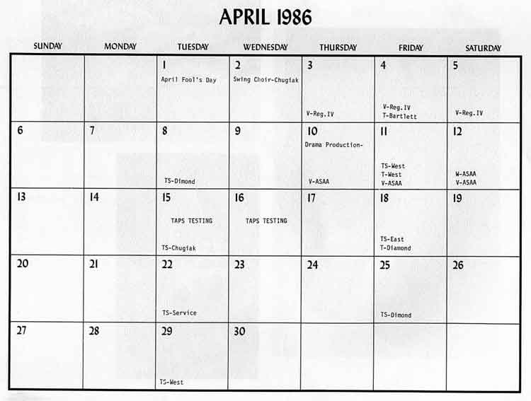 April Calendar Dates : Bhs memories