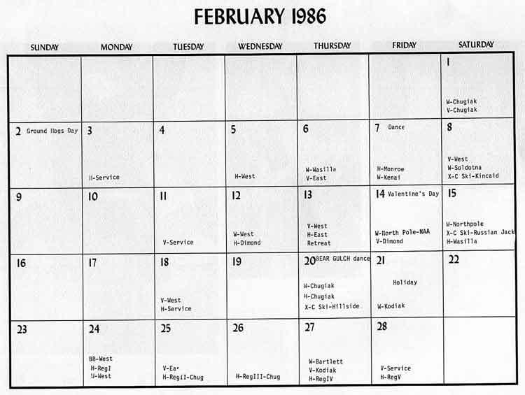 February dates